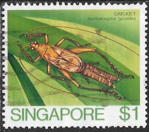 Singapore 461 Used - Insects - Cricket (Homoeoxipha lycoides)