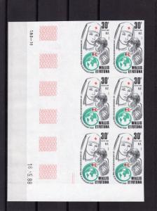 Wallis and Futuna 1988 Sc#371 RED CROSS & RED CRESCENT Block of 6 IMPERFORATED