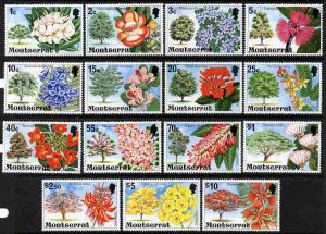 Montserrat 1976 Flowering Trees definitive set of 15 comp...