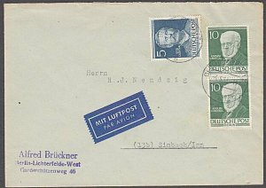 GERMANY Berlin : 1953 airmail cover - nice franking.........................B328