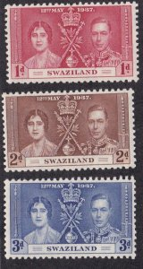 Swaziland # 24-26, 1937 Coronation, NH, 1/2 Cat.