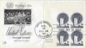 United Nations, New York #10, Regular Issue, Art Craft, inscription block of 4