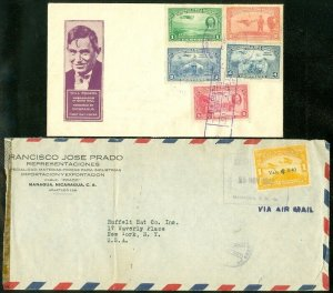 EDW1949SELL : NICARAGUA 2 covers including Will Rogers First Day cover.