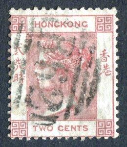 Hong Kong 1880 QV. 2c dull rose. Used. Crown CC. SG28.