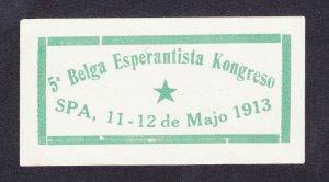 REKLAMEMARKE POSTER STAMP ⭐ 5A BELGA ESPERANTISTA KONGRESO SPA ⭐ 1913