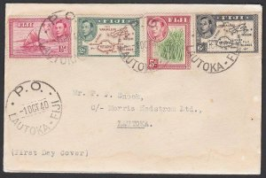 FIJI 1940 (1 Oct) GVI 4 values on FDC inc scarce 2d die 2 - Lautoka cds.....F915
