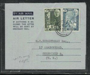 ADEN COVER (P0206B) 1956 FORMULA AEROGRAM QU'AITI 515C+35C TO M.H.ROBERTSHAW