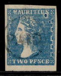MAURITIUS QV SG44, 2d pale blue, FINE USED. Cat £850. BPA CERT