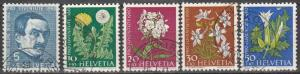 Switzerland #B298-302 F-VF Used CV $7.75 (S2436)