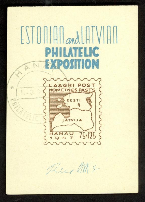 GERMANY 1947 ESTONIAN & LATVIAN DP CAMP POST HANAU Souvenir Sheet MAPS