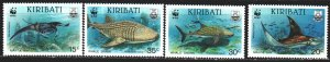 Kiribati. 1991. 566-69. Sharks, WWF. MNH.