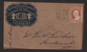 $US Sc#11 ADV. cover Mcpherson+Thomas Commission Merchants 1855