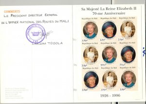 Mali 1996 Queen Elizabeth 70th Birthday M/S of 9 & S/S Imperf Chromalin Proofs