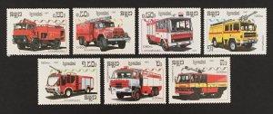 Cambodia 1987 #823-9, Fire Trucks, MNH.