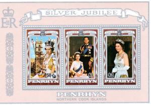 Penrhyn Island 1977 Silver Jubilee Q.Elizabeth II SS # 89a