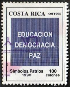 Costa Rica #427 Education, Democracy, Peace, used. PM,HM