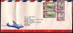 JAMAICA 1954 3/- rate airmail cover to UK.......................31724