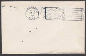 CANADA 1924 Winnipeg Stamp Exhibition slogan 'proof' strike on plain cover..T266