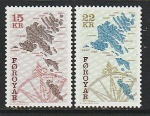 2000 Faroe Islands - Sc 377-8 - MNH VF - 2 single - Map