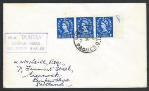 GIBRALTAR 1961 cover, GB stamps, PAQUEBOT cds, MS Dunera cachet.............H319
