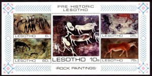 5 Different Rock Paintings, Lesotho S/S SC#402a MNH