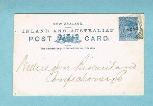NEW ZEALAND postal card, domestic, 1892