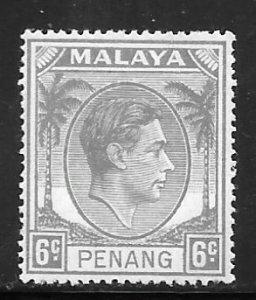 Malaya Penang 8: 6c George VI, MH, F-VF