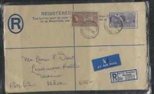 BERMUDA COVER (P1604B)1958 KGVI 3D RLE+QEII 2/-+9D REG A/M COVER TO USA