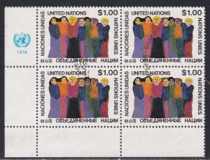 United Nations -New York #  293, Inscription Block of Four, Used, 1/3 Cat.