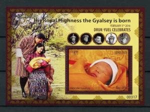 Bhutan 2016 MNH Birth HRH Gyalsey Royal Baby Druk Gyalpo 1v S/S Royalty Stamps