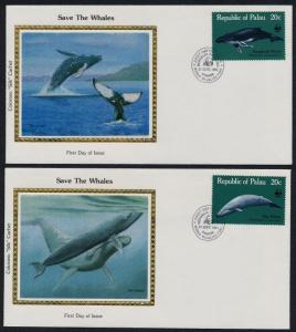 Palau 24-7 on Colorano Silk Cachet FDC's - Whales