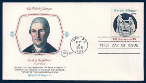 UNITED STATES FDC 13¢ French Alliance 1978 Fleetwood