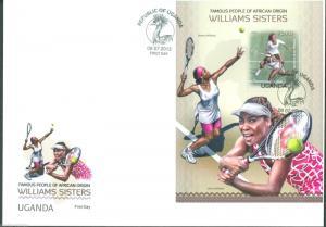 UGANDA FAMOUS PEOPLE OF AFRICAN ORIGIN TENNIS WILLIAMS SISTERS  S/S FDC