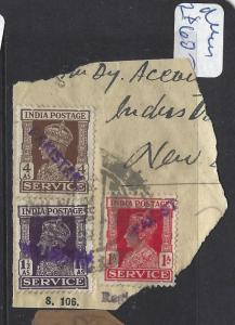 PAKISTAN (PP2302B) LOCAL HANDSTAMP  KGVI ON INDIA 1A+1 1/2A+4A PIECE    VFU