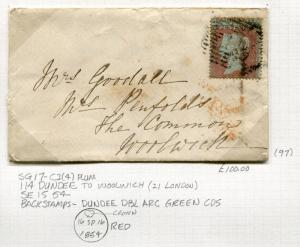 Great Britain Postal History Cover - 1854 SG #17 Dundee to Woolwich - Green CDS