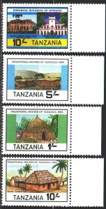 Tanzania. 1984. 250-53. Traditional architecture of Tanzania. MNH.