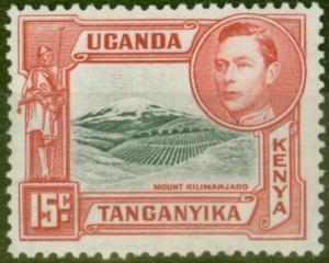 KUT 1938 15c Black & Rose-Red SG137 Fine Mtd Mint