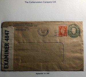 1941 Manchester England Carborundum Co Stationery Window Censored Cover