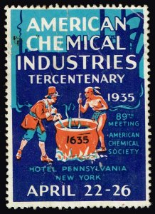 US STAMP 1935 AMERICAN CHEMICAL INDUSTRIES Convention stamp crease