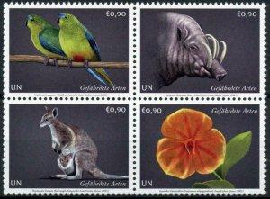 Vienna United Nations UN Stamps 2021 MNH Endangered Species Parrots 4v Block