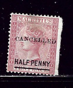 Mauritius 46 Used 1876 overprint  might be a thin spot under a hinge remnant