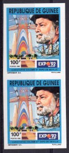 Guinea 1992 Mi#1393B COLUMBUS 500th.Discovery America/Expo'92 PAIR IMPERF.MNH