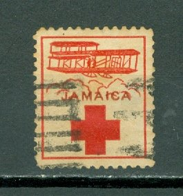 JAMAICA 1915 RED CROSS LABEL FOR HELPING JEWS in POLAND...TYPE 2...USED