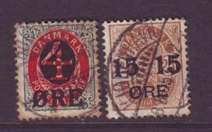 Denmark Sc 55-6 1904 overprint  stamps used