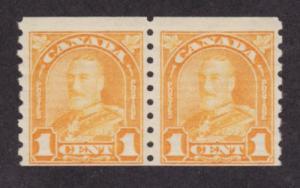 Canada Sc 178 MNH. 1930 1c orange KGV Coil Pair