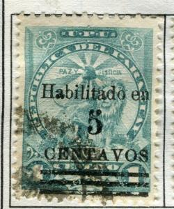 PARAGUAY;   1907-9 early surcharged issue fine used 5c/1c. value