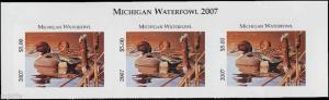 MICHIGAN #32T 2007 STATE DUCK STAMP TOP STRIP OF 3 PINTAILS  by Rod Lawrence
