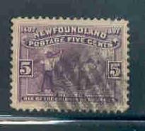 Newfoundland Sc65 1897 5c Mining stamp used