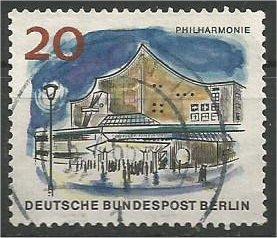 BERLIN, 1965, used 20pf Philharmonic Hal, Scott 9N225
