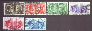 J22599 Jlstamps 1941 WWII  italy set used #413-8 hitler & mussolini